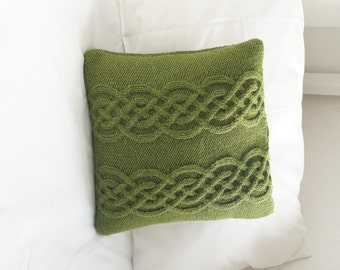 Knitted pillow cover, Hand Knit Pillow Sham, Cable Knit Wool Pillow, Knitted Cushion Cover, Celtic Cable, Olive green 35cm - HANBURY