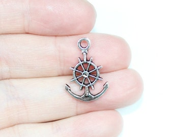 8 Helm and anchor charms tibetan silver SC211