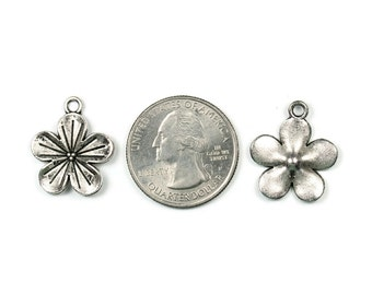 6 Antique Silver Flower Charms