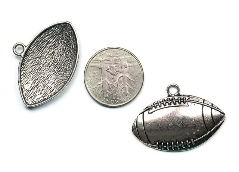 4 Antique Silver Football Pendants