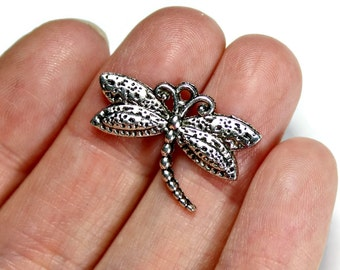 8 Antique Silver Dragonfly Charms