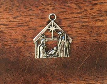 2 Antique Silver Nativity Scene Charms