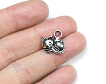 6 Antique Silver Curled Cat Charms