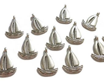 10 Antique Silver Sailboat Charms