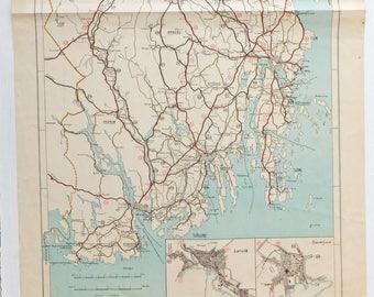 Vintage Road Map, Very large Norwegian map, Scandi decor, Norway map, Vestvold map, Scandinavian map