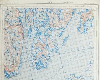 Scandi decor, Norway map, Bokn Map, Os, Rogaland map, Scandinavian map