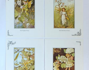 Four Flower Fairies Pictures, Cicely Mary Barker, Poplar Fairy, Guelder Rose Fairy, Stitchwort, Lime Tree, Nursery decor