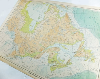 East Canada Map, 27.5 inches x 20.5 inches, Large 1957 Map of Canada, old map, Bathy-Orographic map, Canadian map, Atlas of Canada