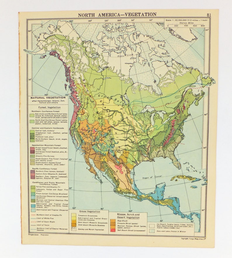 Carte Cuba Amerique.Amerique Du Nord Carte De 1948 Des Usa Canada Cuba Decor Etsy