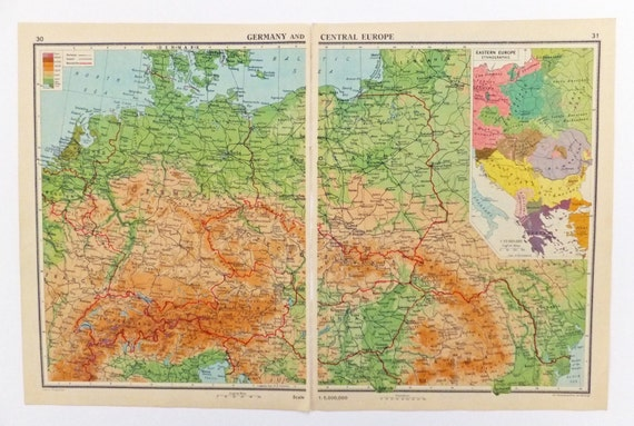 Central Germany Map.Germany Map Central Europe Map 1948 Post War Map Of Germany Etsy