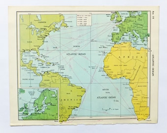 Vintage Atlantic Ocean map, Old Map of The Atlantic Ocean, gift for travel history buff, travel map