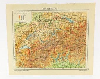 Vintage Map of Switzerland, Switzerland map, Swiss map, 1949 map, old map, map art