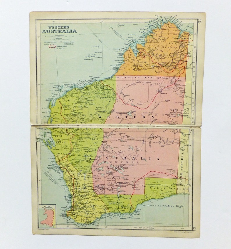 Western Australia Map, 1930\'s Map of Western Australia, old map Australia,  10 x 13.5 inch historical map, home decor, travel, office decor