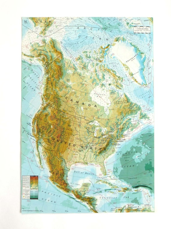 North America map, Canada map, US map, Mexico map, Africa map, 1979 Map of  Africa, travel ephemera, atlas page, souvenir