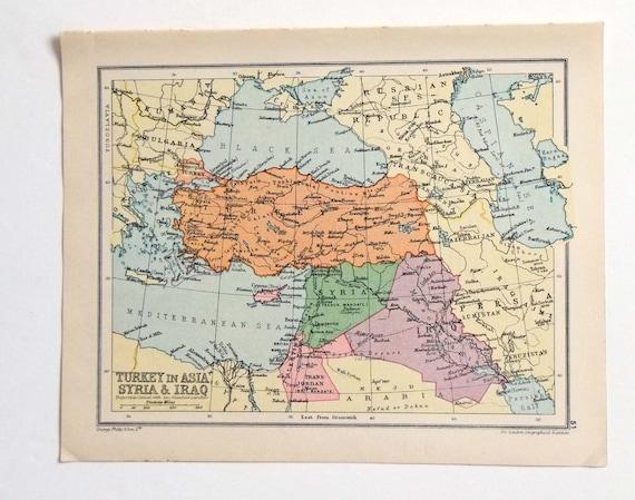 Syrien Irak Karte.Turkei Stadtplan Vintage Karte Der Turkei Syrien Karte Irak Karte 1934 Karte Pastell Karte Historische Karte 23 X 18 5 Cm