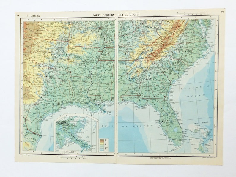 South Eastern United States Map, Large 1951 Map of South Eastern US, USA,  America, old map