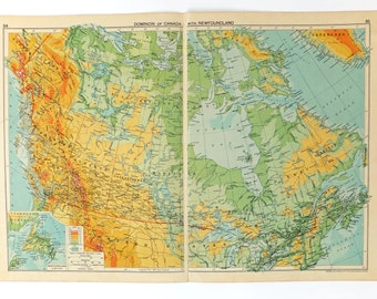 map of canada very large vintage map 1948 map canada map newfoundland