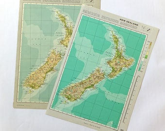 Vintage New Zealand map - Map of New Zealand - bright or vintage colours map - old map
