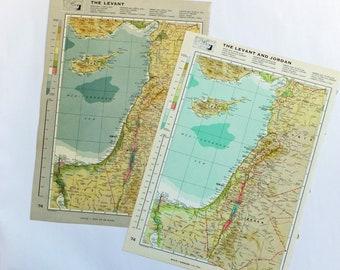 Vintage map of the Levant - Large Map of Syria, Israel, Lebanon, Jordan, Cyprus, Palestine