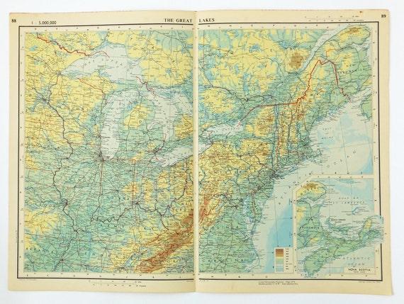 Great Lakes Map Lakes Superior Michigan Huron Erie | Etsy