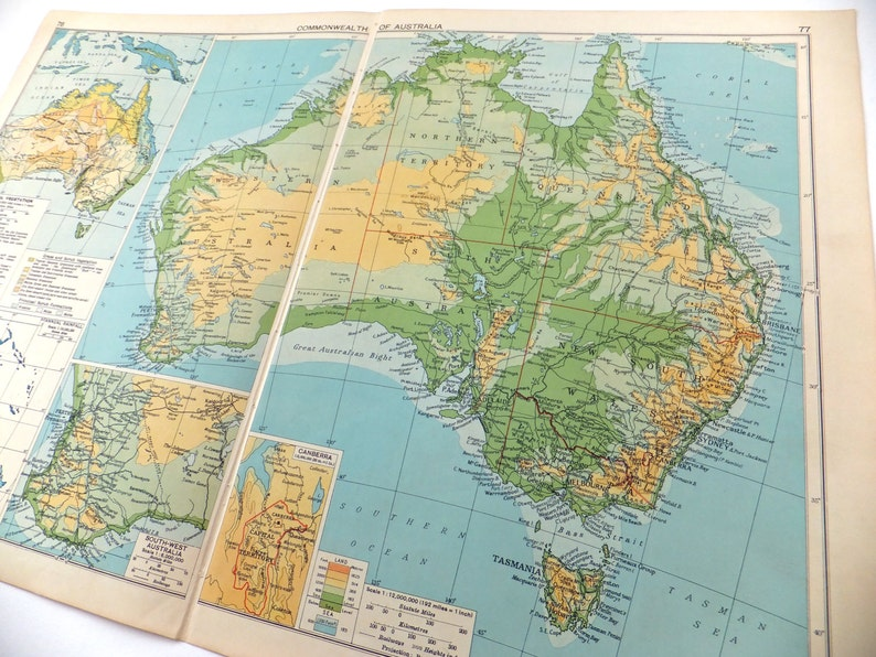 Large Map Of Australia.Map Of Australia Very Large Vintage Map 1948 Map Australia Map Travel Souvenir