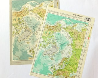 Vintage Arctic Ocean map, Large Map of Arctic Ocean, North Pole, ocean decor, wall hanging, Greenland map