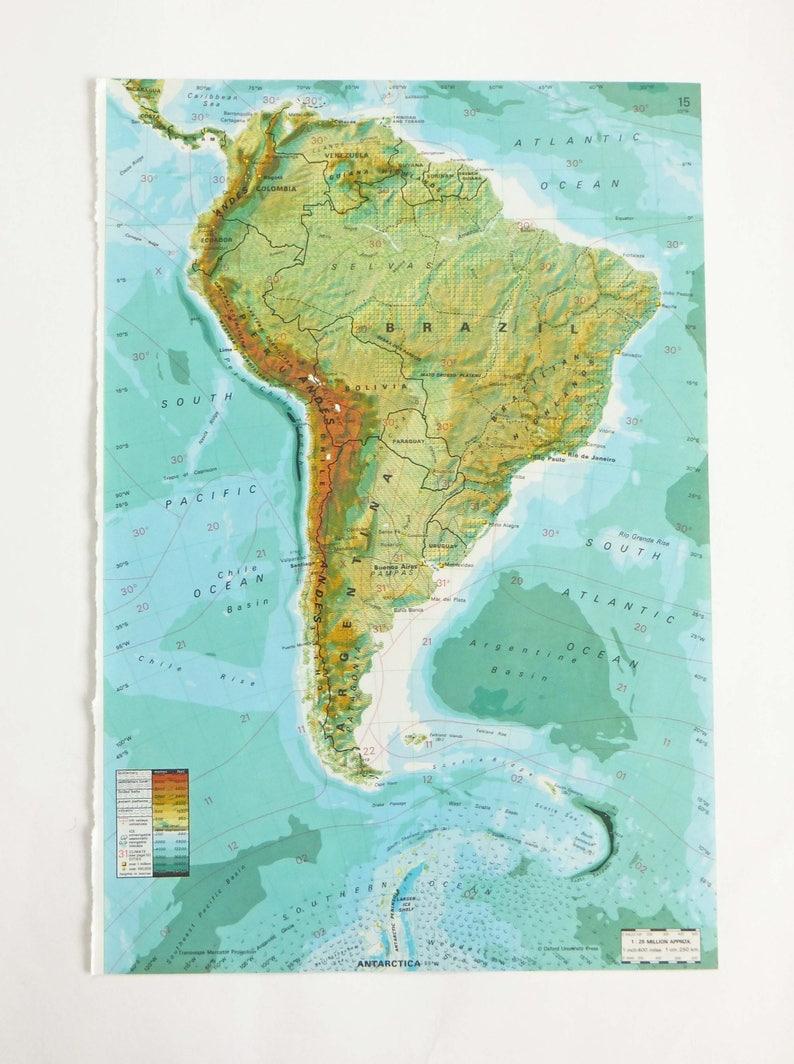 Australia Map New Zealand.Brazil Map 1979 Map Of Brazil Australia Map New Zealand Etsy