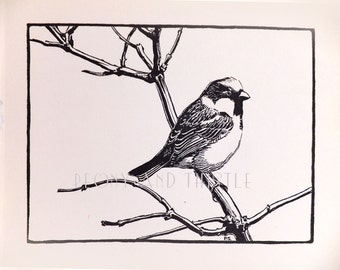 Sparrow, Vintage Black and White Picture of birds, Gift for Nature Lover, Black and White Art, Natural History