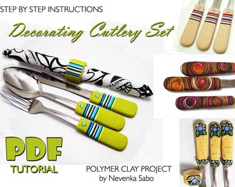 Polymer clay tutorial, PDF tutorial, Decorating cutlery, Personalized, Decorated silverware, DIY craft idea, DIY instructions, Unique gift