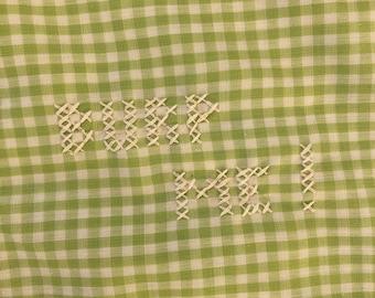 Vintage Baby Blocks and Yellow Plaid on Cream baby burp rags or burp cloths