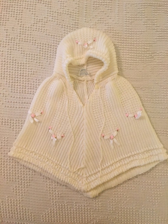 Vintage Knitted Baby Poncho