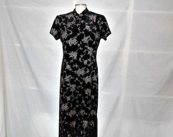 Sz 8 10 Velvet Glitter Cheongsam - Asian Black Maxi Dress Stretch Velvet - Qipao - Mandarin Mao Collar - Floor Full Length Cocktail Formal