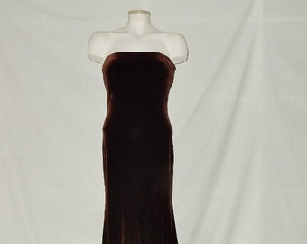 a722a9af5636 Sz 4 Velvet Mermaid Jessica McClintock Strapless Dress - Brown - Tall -  Elegant Formal Evening Ball Gown - Made in USA
