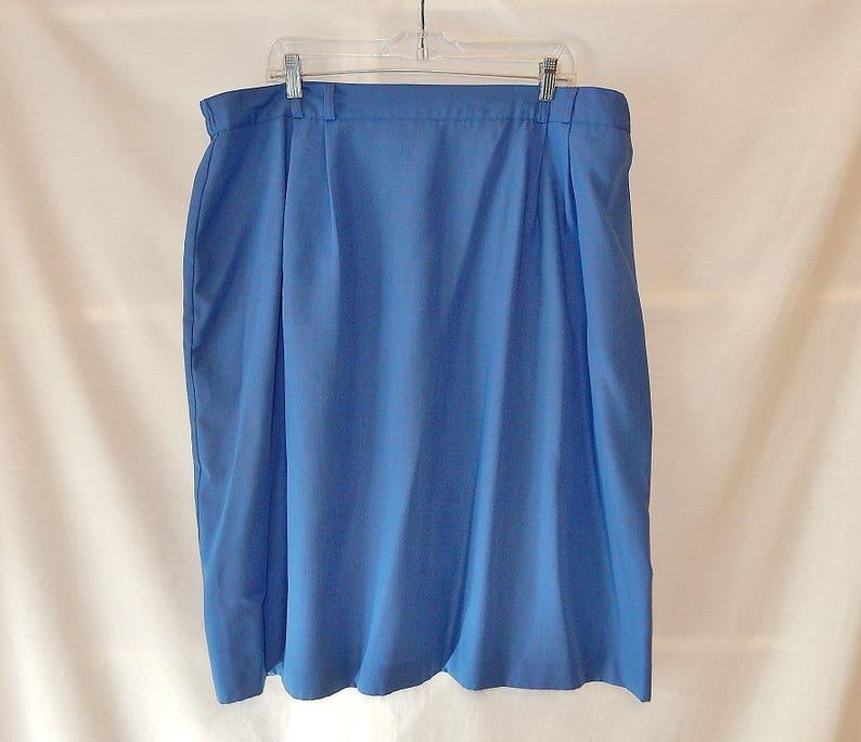 3095a3879e Sz 22 1X 2X Simple Pencil Skirt Blue Below the Knee Plus   Etsy