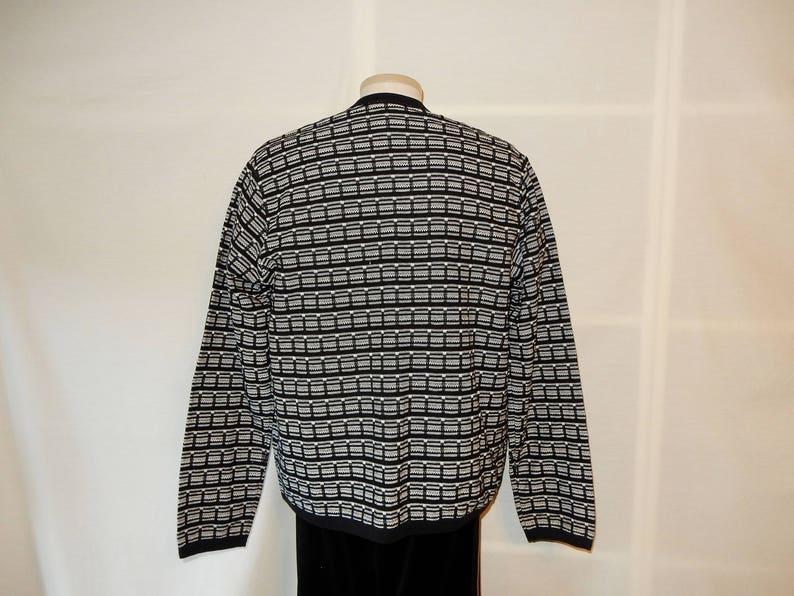 Sz L 10 12 Cotton Knit Twin Set Geometric Design Black /& White Size Large 80s 90s Andrea Jovine