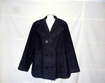 Sz 22 24 Wool Peacoat Jacket - Charcoal Gray - Lane Bryant - 80s Women's Plus Size 2X Pea Coat