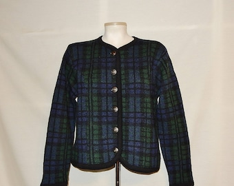 Sz P M Plaid Wool Cardigan Sweater - Bridgewater - Blue Green & Black - Metal Buttons - Wear to Work - Preppy - Size Petite Medium