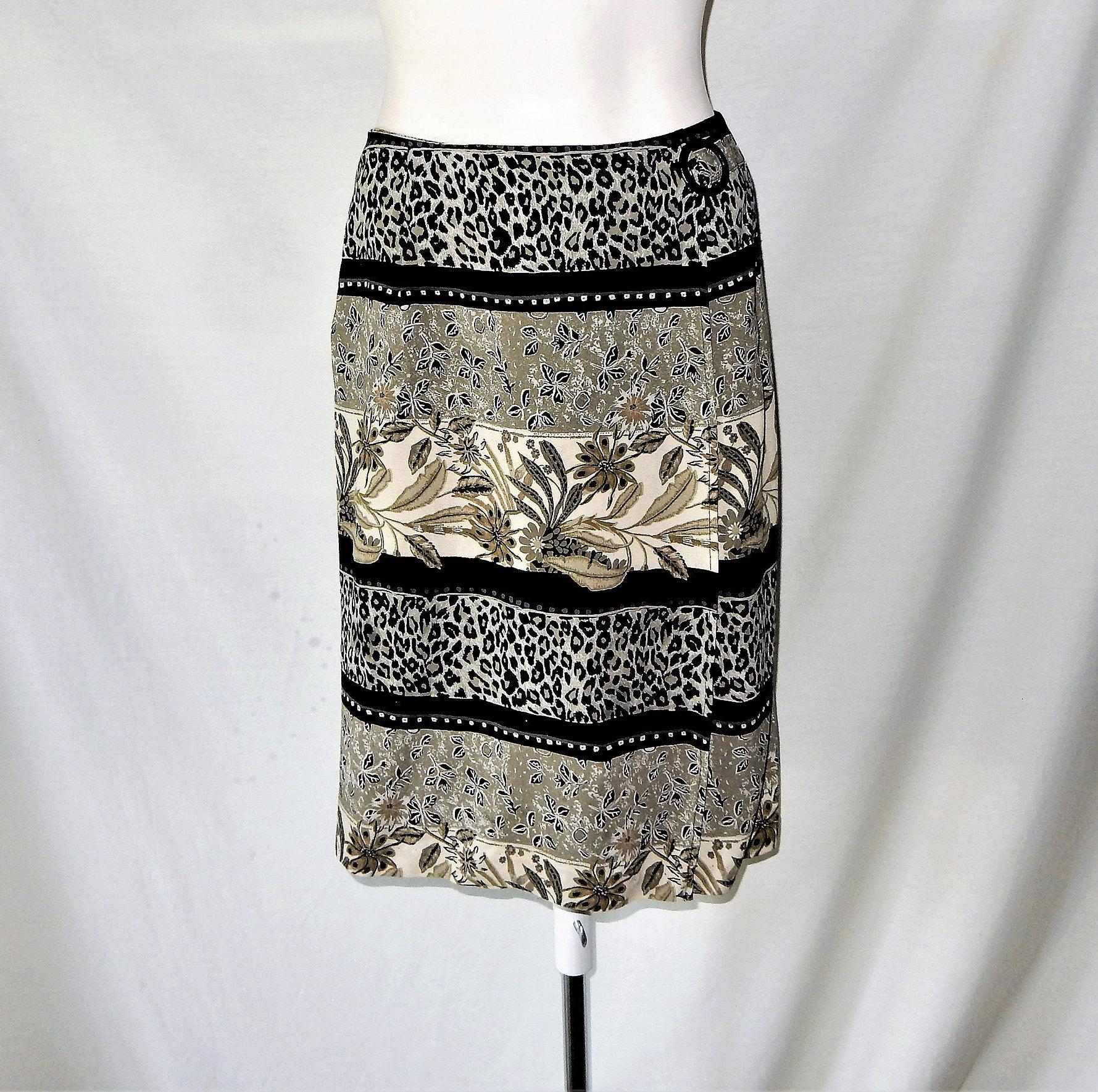 13a4ca8d90 Sz 6 Faux Wrap Pencil Skirt Animal & Floral Print | Etsy