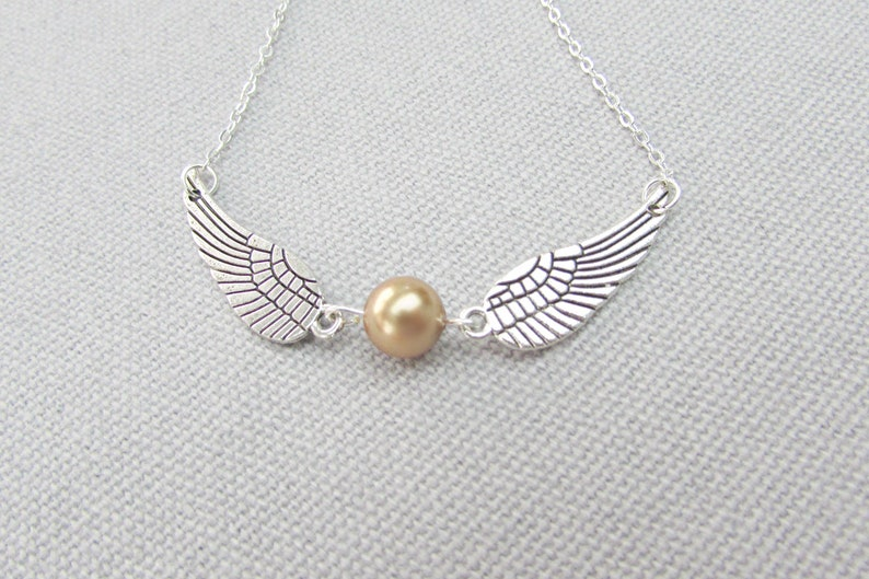 Harry Potter Inspired Golden Snitch Necklace Wing Necklace image 0