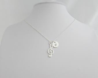Musical Note Necklace, Personalised Music Necklace, Music Student Gifts, Treble Clef Necklace, UK Seller, Music Lover Gift, G Clef