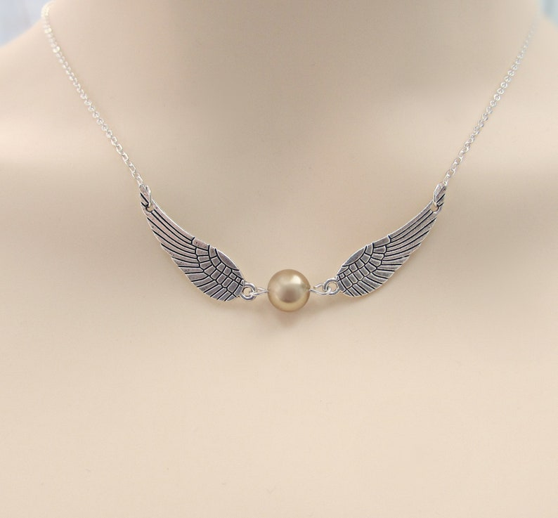 Harry Potter Inspired Golden Snitch Necklace Wing Necklace image 1