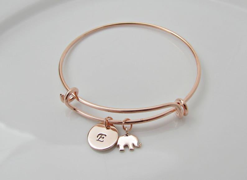 4f723523764f Rose Gold Elephant   Initial Charm Bangle Rose Gold Bangle