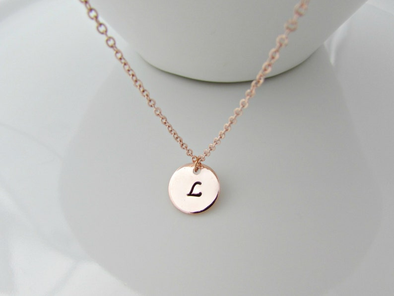 Initial Necklace Initial Necklace Rose Gold Bridesmaid Etsy