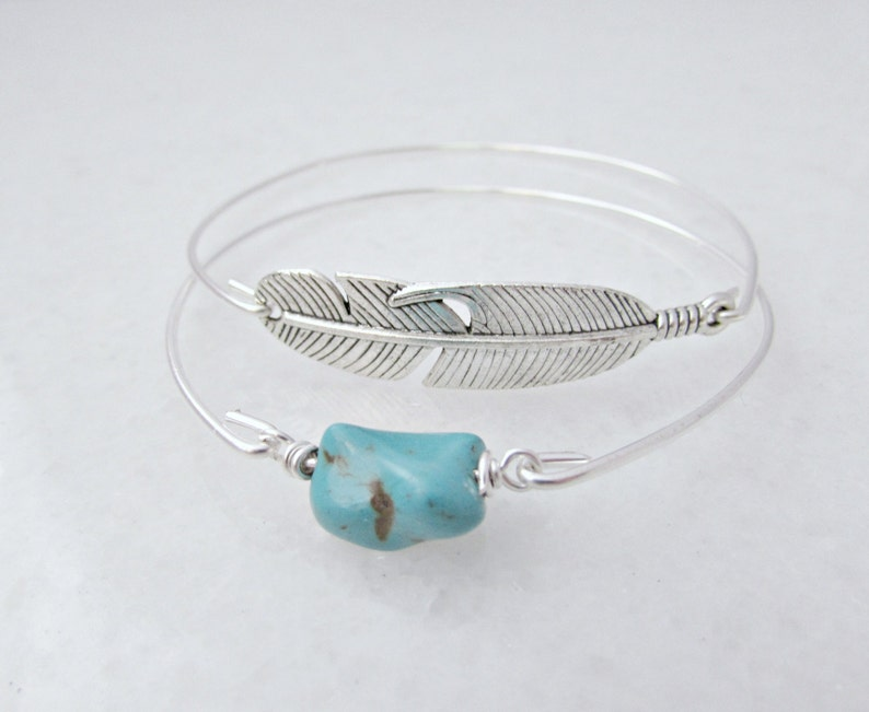 Feather Turquoise Bangle Set Bridesmaid Gifts Etsy UK BFF image 0