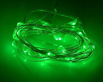 Green Fairy Lights LED String Light AA Battery Operated 10 ft in length with 30 LEDs