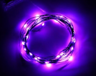 Purple Fairy Lights LED String Light AA Battery Operated 10 ft in length with 30 LEDs