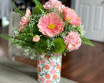 Real Touch Pink Melon Poppy Faux Flower Arrangement | Baby Pink Hydrangeas | White Blossoms | Lush Greenery | Spring & Summer Home