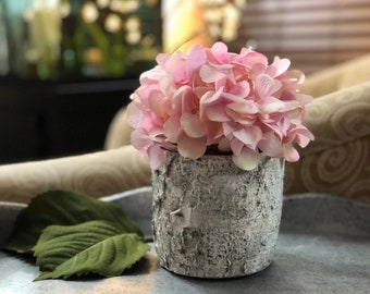 Pink Hydrangea Faux Flower Arrangement with Moss in Birch Vase | Wedding Flower Centerpiece | Home Decor | Gifts for her | Holiday Flowers