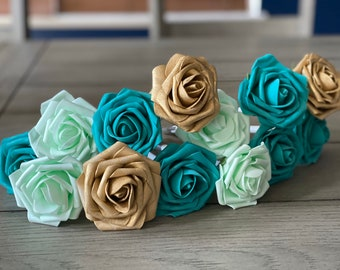 Lucky Shamrock Mint Green, Turquoise and Gold Rose Flower Pens | Stationary Gifts | Flower Pen Set | Desk Flowers | St Patrick's Day