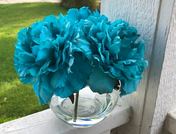 Teal Blue Peonies In Round Glass Vase In Acrylic Water Faux Etsy